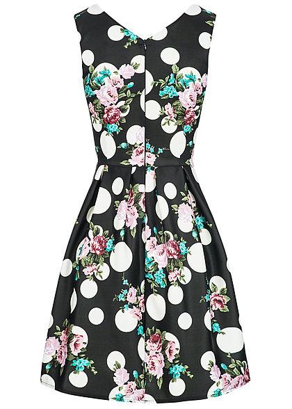Styleboom Fashion Damen Mini Kleid Blumen & Punkte Muster Brustpads schwarz weiss rosa