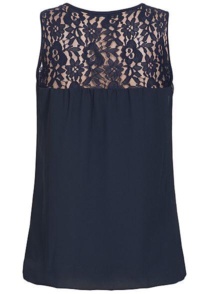 Styleboom Fashion Damen Chiffon Top Spitze unifarben navy blau