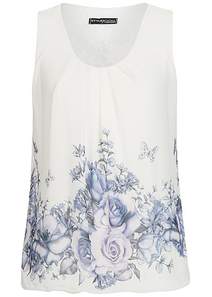 Styleboom Fashion Damen Chiffon Top Flower Print weiss lila