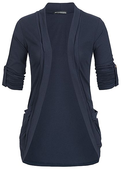 Styleboom Fashion Damen Turn-Up Cardigan 2-Pockets navy blau
