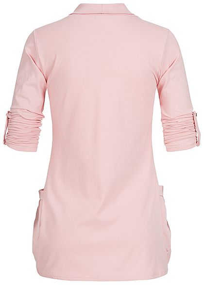 Styleboom Fashion Damen Turn-Up Cardigan 2-Pockets rosa