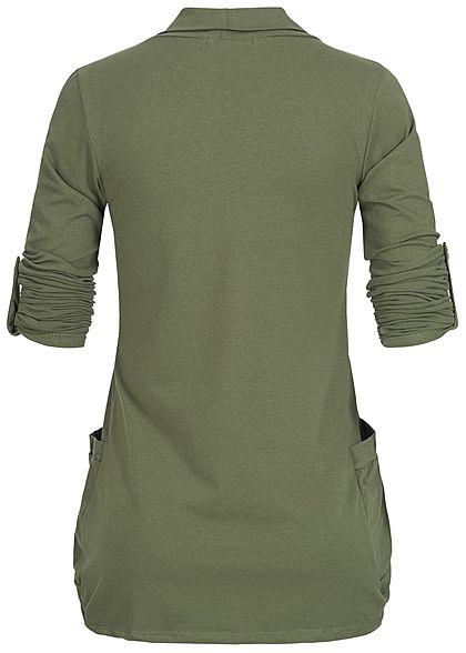 Styleboom Fashion Damen Turn-Up Cardigan 2-Pockets military grün