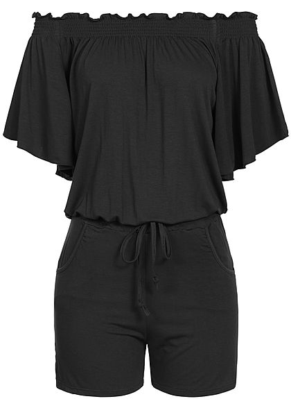 Styleboom Fashion Damen Off-Shoulder Jumpsuit mit Volant Ärmeln schwarz