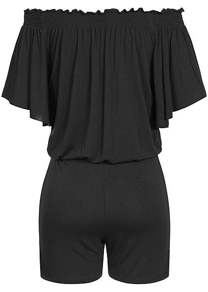 Styleboom Fashion Damen Off-Shoulder Frill Playsuit 2-Pockets schwarz