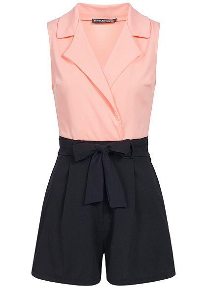 Geschäft populärer Stil Los Angeles Styleboom Fashion Damen 2 Tone Jumpsuit Wickeloptik Gürtel rosa schwarz