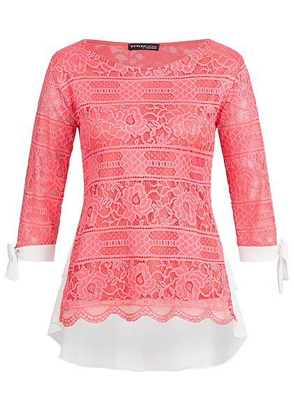 Styleboom Fashion Damen 3/4 Arm Shirt 2in1 Optik Spitze Allover coral pink weiss