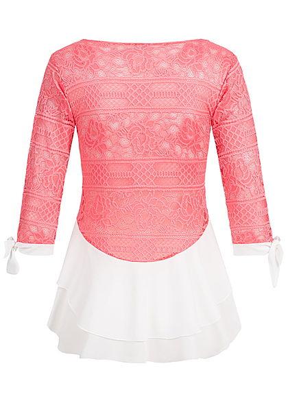Styleboom Fashion Damen 3/4 Arm Shirt 2in1 Optik Spitze Allover coral pink weiss