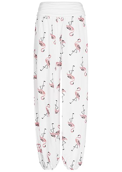 Styleboom Fashion Damen Sommer Hose Flamingo Print weiss