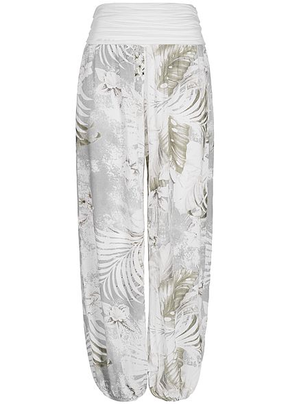 Styleboom Fashion Damen Summer Pant Tropical Print weiss