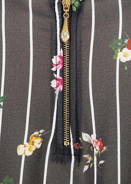 Styleboom Fashion Damen Top Blumen & Streifen Muster Zipper vorne schwarz