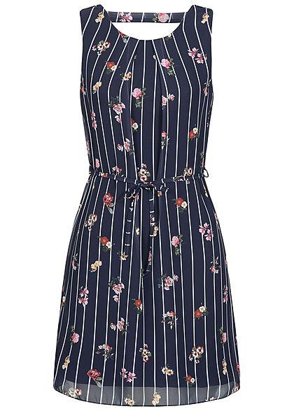Styleboom Fashion Damen Chiffon Kleid 2 lagig Streifen & Blumen Muster navy blau