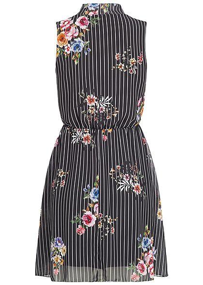 Styleboom Fashion Damen Chiffon Kleid 2-lagig Blumen & Streifen Muster schwarz