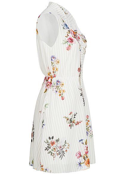 Styleboom Fashion Damen Chiffon Kleid 2-lagig Blumen & Streifen Muster weiss