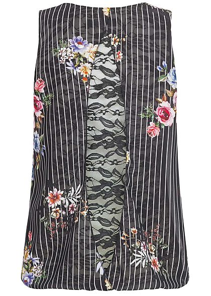 Styleboom Fashion Damen Chiffon Top Blumen & Streifen Muster Spitze hinten schwarz