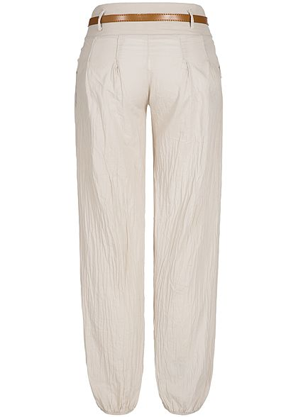 Styleboom Fashion Damen Summer Pants Belt 2-Pockets beige