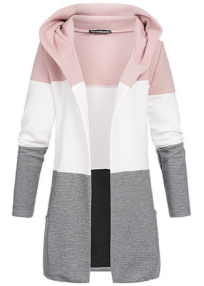 Styleboom Fashion Damen Colorblock Cardigan 2-Pockets rosa weiss grau