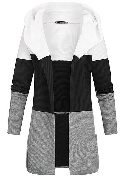 Beliebt Bevorzugt Styleboom Fashion Damen Colorblock Cardigan Kapuze weiss schwarz &IT_12