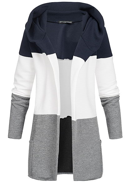 26ed42b3ad6d Styleboom Fashion Damen Colorblock Cardigan Kapuze navy blau weiss grau -  77onlineshop