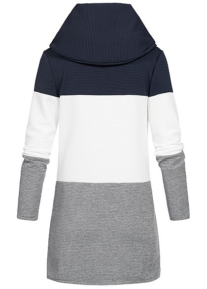Styleboom Fashion Damen Colorblock Cardigan 2-Pockets navy weiss grau