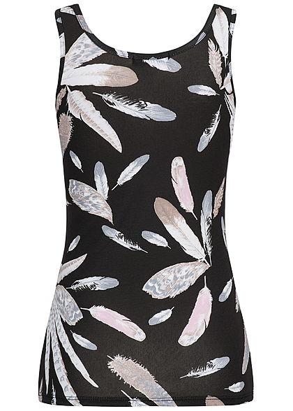Styleboom Fashion Damen Tank Top Federn Print schwarz