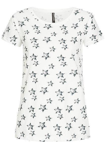 40e3e5ef8ca02f Eight2Nine Damen T-Shirt Stern Muster by Rock Angel off weiss blau -  77onlineshop