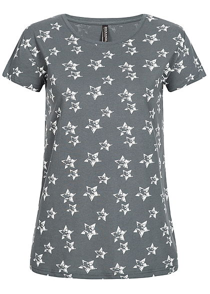 e6da9195fa8313 Eight2Nine Damen T-Shirt Stern Muster by Rock Angel dunkel blau weiss -  77onlineshop