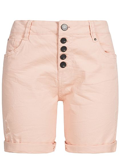 Eight2Nine Damen Jeans Shorts Destroy Look 5-Pockets peach rosa denim