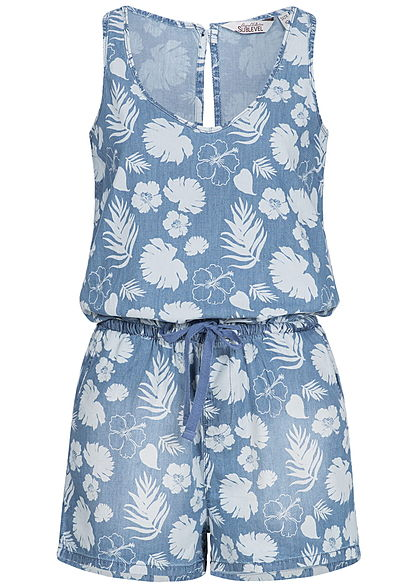 Eight2Nine Damen Kurz Jumpsuit Floraler Print 2 Taschen by Sublevel medium blau denim