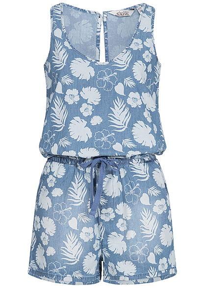 heiß-verkaufendes echtes Fabrik 100% Qualitätsgarantie Eight2Nine Damen Kurz Jumpsuit Floraler Print 2 Taschen by Sublevel medium  blau denim