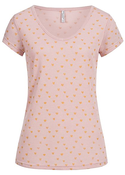 Eight2Nine Damen T-Shirt Herz Muster by Fresh Made shadow rosa gold