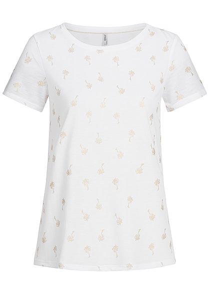 ONLY Damen T-Shirt Palmen Muster cloud dancer weiss gold - 77onlineshop a2f0f6e72b