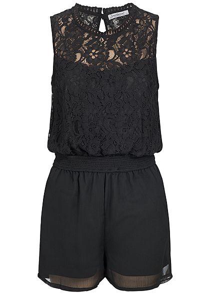 36ec9d014adb48 Seventyseven Lifestyle Damen Jumpsuit Spitze 2 Taschen Rückenausschnitt  schwarz - 77onlineshop