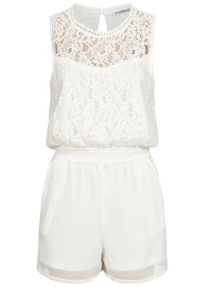 Hailys Damen Lace Playsuit 2-Pockets off weiss - Art.-Nr.: 19083221