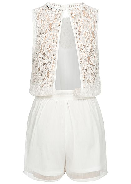 Hailys Damen Lace Playsuit 2-Pockets off weiss