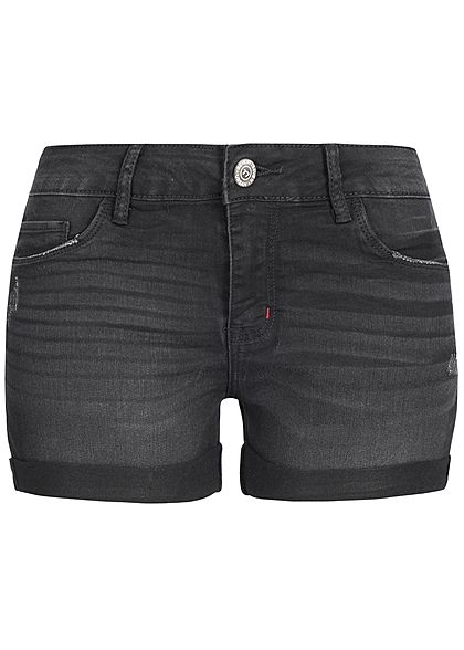 Seventyseven Lifestyle Damen Shorts Crash Optik 5-Pockets schwarz denim