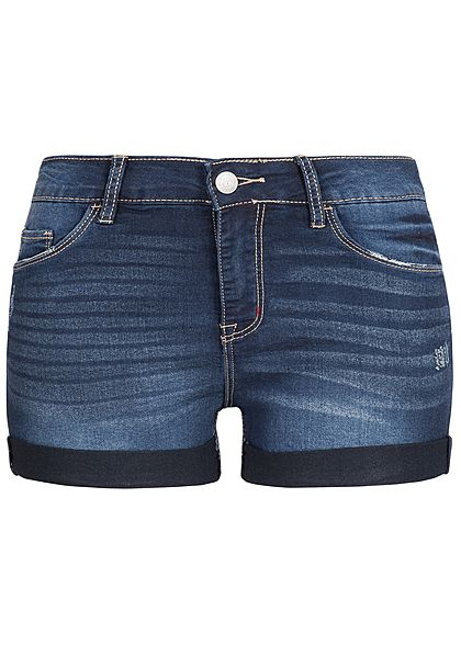 Seventyseven Lifestyle Damen Shorts Crash Optik 5-Pockets dunkel blau denim