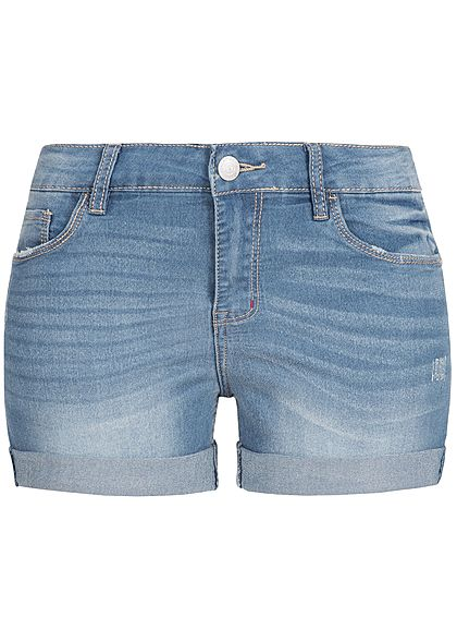 Seventyseven Lifestyle Damen Shorts Crash Optik 5-Pockets medium blau denim