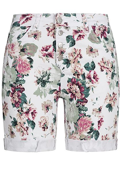 Seventyseven Lifestyle Damen Shorts Blumen Print Allover 5-Pockets weiss rosa grün