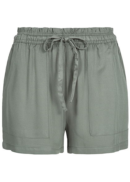 JDY by ONLY Damen Paper-Bag Shorts 2 Taschen castor gray olive grün
