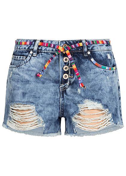 1e6183cef2e1 ONLY Damen Jeans Shorts Heavy Destroy Look 5-Pocktes Fransen inkl. Gürtel  hell blau denim