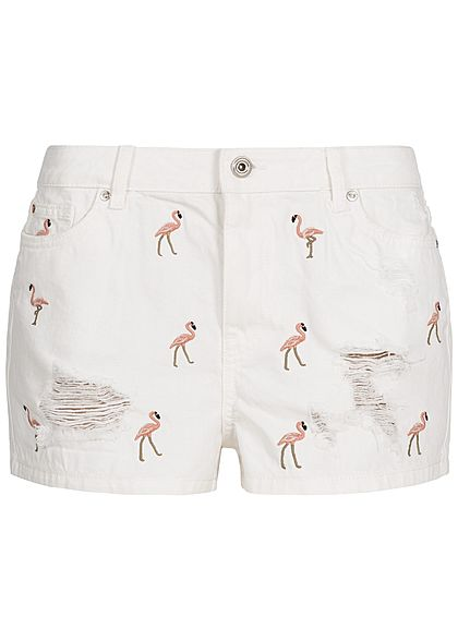 ONLY Damen Jeans Shorts Flamingo Patches Destroy Look 5-Pockets weiss denim rosa