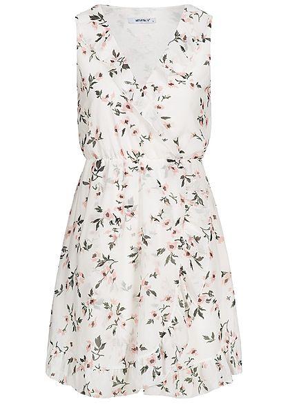 Blumen Rosa 77onlineshop Damen Lagig Weiss Muster Kleid 2 Hailys TKclF3u1J