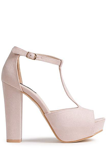 new concept e8943 3a3d5 Seventyseven Lifestyle Damen Schuh Sandalette Blockabsatz 12cm Kunstleder  nude rosa