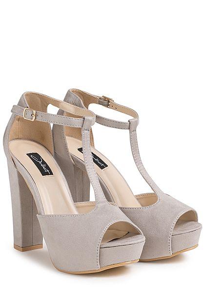 Seventyseven Lifestyle Damen Schuh Sandalette Blockabsatz 12cm Kunstleder hell grau