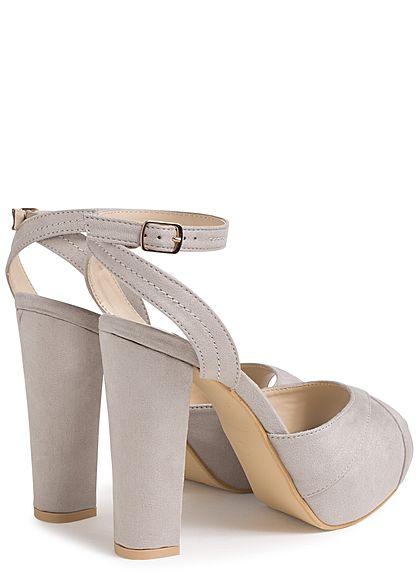 Seventyseven Lifestyle Damen Schuh Sandalette Blockabsatz 13cm Kunstleder hell grau