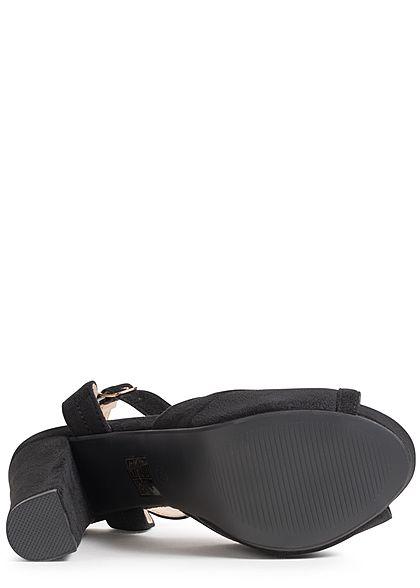 Seventyseven Lifestyle Damen Schuh Sandalette Blockabsatz 13cm Kunstleder schwarz