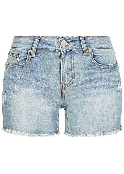 Hailys Damen Jeans Shorts Crash Look 5-Pockets Fransen hell blau denim