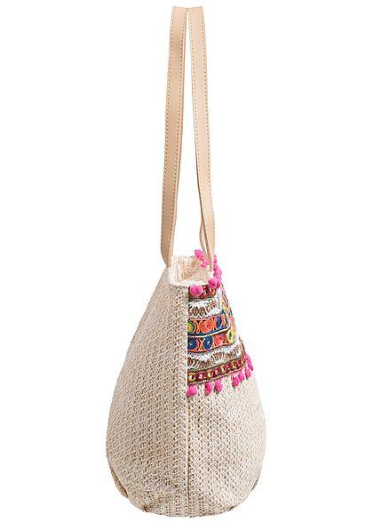 Styleboom Fashion Damen Handtasche bunte Patches Höhe: 29cm Breite: 44cm cream weiss