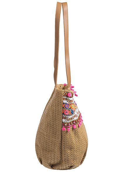 Styleboom Fashion Damen Handtasche bunte Patches Höhe: 29cm Breite: 44cm khaki braun
