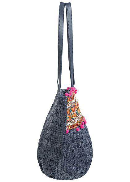 Styleboom Fashion Damen Handtasche bunte Patches Höhe: 29cm Breite: 44cm dunkel blau